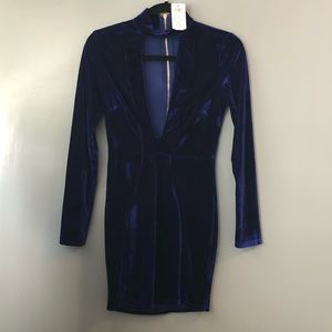 Dark Blue Velvet Windsor Mini Dress